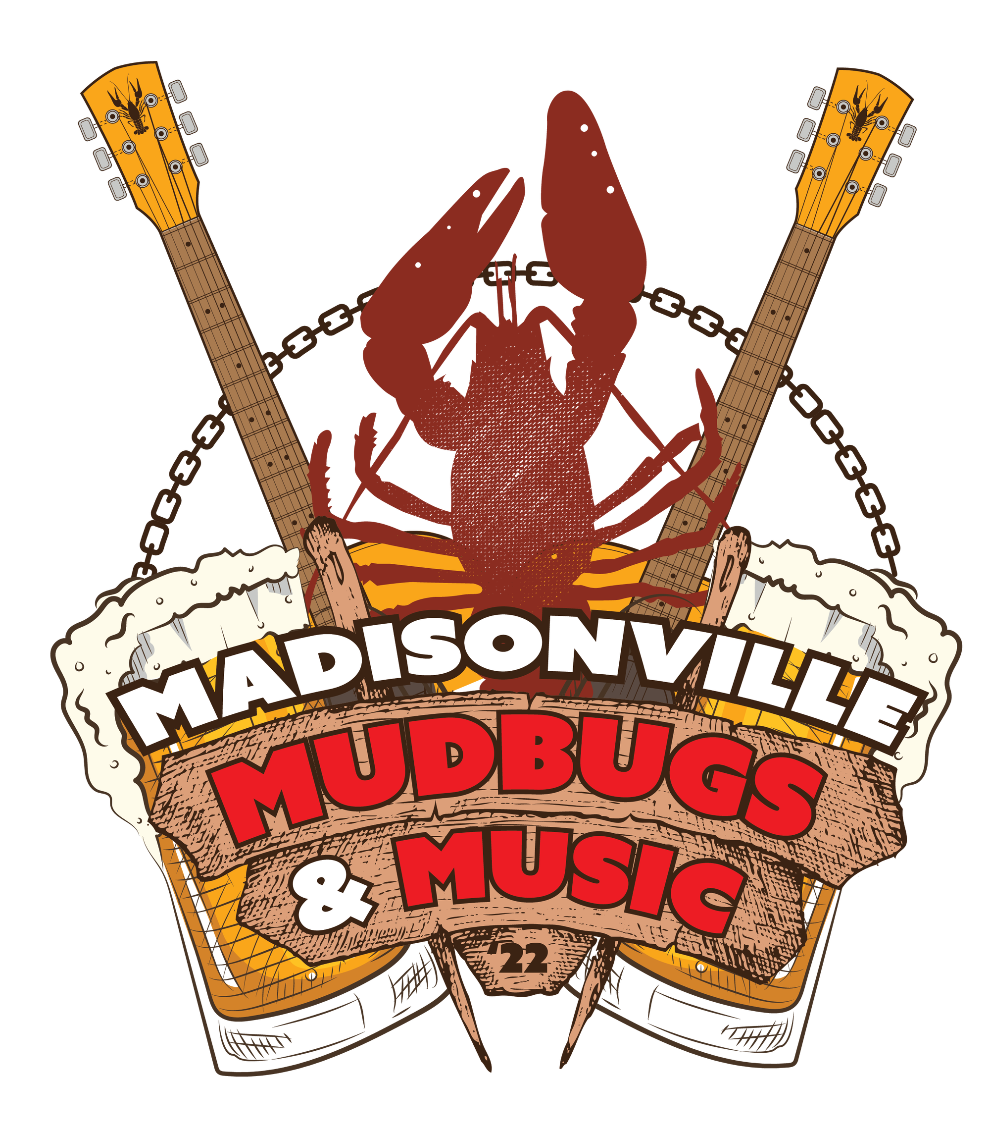 Logo For Madisonville Mudbugs and Music Logo - Designed for City of Madisonville color